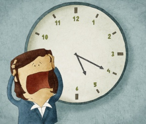 Illustration of a businesswoman worried out of time